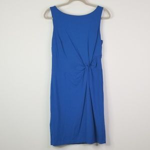 Teal bright blue knotted fitted dress